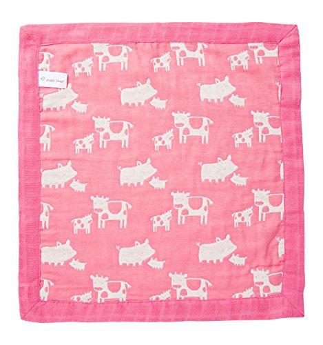 Angel Dear Jacquard Blankie, Farm Animal Pink