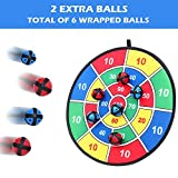 Fabric Dart Board Game with 6 Balls Using Hook-and-Loop Fasteners | Large - 14.5 Inches (37 cm) Diameter | Safe for Kids