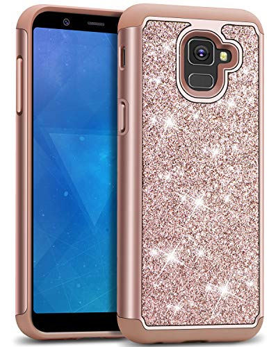J&D Case Compatible for Galaxy A8 2018 Case, Sparkling [Glittering] [ArmorBox] [Dual Layer] Shock Resistant Hybrid Protective Rugged Case for Samsung Galaxy A8 2018 Case - [Not for A8 Plus 2018]