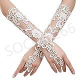 SOCOOL66 Beautiful Bridal Gloves,luxury Hollow Lace Flower Glove Wedding Dress Accessories