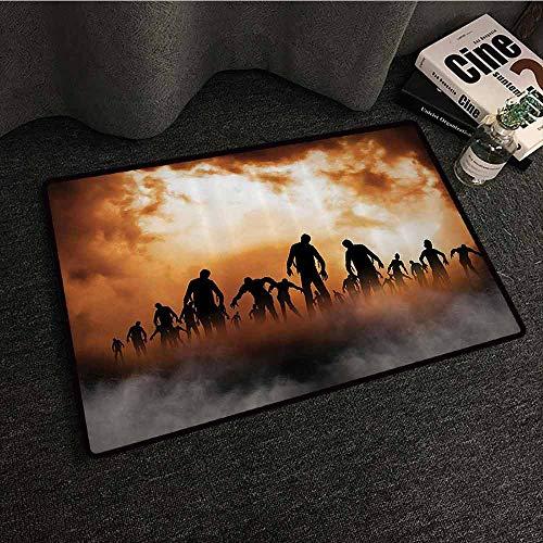Halloween Decorations Pet Door mat Zombies Dead Men Body Walking in The Doom Mist at Dark Night Sky Haunted Decor Hard and wear Resistant W31 xL47 Orange Black]()