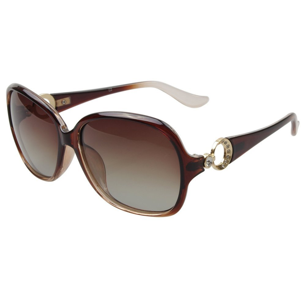 Roron Womens Polarized Sunlgasses for Women with Rhinestone ...