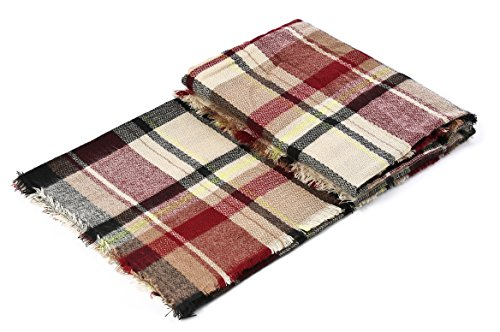 Trendy Women's Cozy Warm Winter Fall Blanket Scarf Stylish Soft Chunky Checked Giant Scarves Shawl Cape (One Size, Pink Scarf) by American Trends (Image #5)