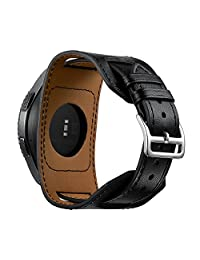 22mm Watch Bands Repalcement for Samsung Gear S3/Galaxy Watch (46mm),Quick Release Leather Cuff Wristbands Strap- Black(Long Wrist Size:6.9-8.7inches (175-220mm))