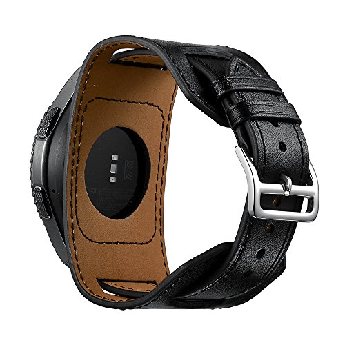 Bands For Samsung Gear S3 watch,22mm Genuine leather cuff wrist watch band replacement strap for Samsung Gear S3 Frontier/Classic Watch-Black(Small/Thin Wrist Size:5.5-7.48inches (140-190mm)) Leather Gear Cuff Watch