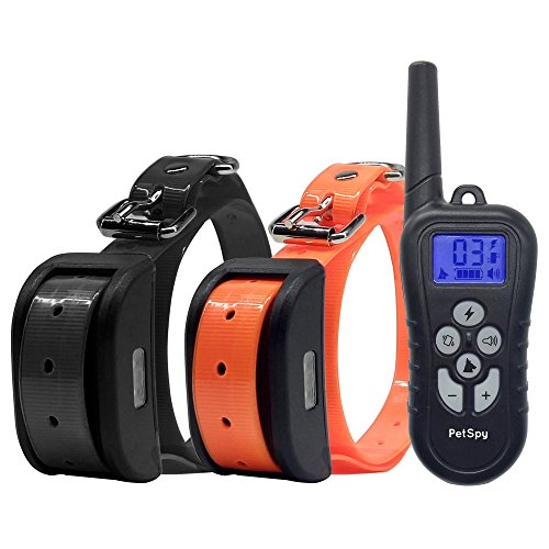 PetSpy Dual Dog Training Shock Collar for 2 Dogs with Beep, Vibration and Electric Shocking, Rechargeable and Waterproof E-Collar Remote Trainer - Vibration E Collar