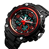 Special Forces Military Sports Watches Luxury Big Dial Analog Quartz Digital Watch Men Multi-Function 50M Waterproof Led Bracelet Watch (Red)