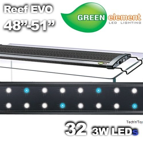 Green Element EVO 48-52 LED Aquarium Light Fixture - Reef Capable 32x3W by BeamsWork (Element Green)