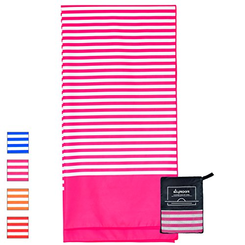 Microfiber Beach Towel Oversized - XL 70 x 35 Inch - Quick Dry, Sand Free, Extra Large, Lightweight with Easy Zipper Bag - Perfect for Travel, Yoga, Gym, Beach Blanket & Backpacking - (Pink Hibiscus)