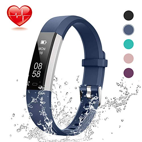 Lintelek Fitness Tracker, Slim Activity Tracker with Heart Rate Monitor, IP67 Waterproof Wristband with Step Counter, Calorie Counter, Bluetooth Pedometer for Android & iOS Smartphone for Kids Women (Best Rated Fitness Tracker)