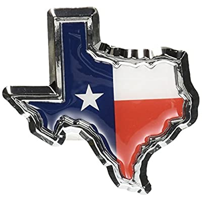 Texas Flag in Shape of Texas Chrome Metal Auto Emblem: Automotive