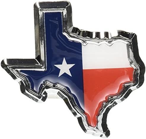 Texas Flag in Shape of Texas Chrome Metal Auto Emblem