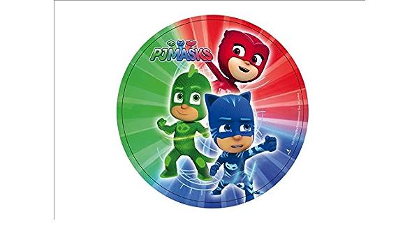 PJ Masks - Héroes en pijama - Obleas personalizables para tarta - Kit nº. 5 Cdc (1 oblea, tamaño folio A4: 210 × 297 mm)