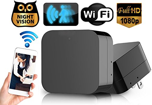 Hidden Spy Camera Wall Charger Night Vision – Nanny Camera USB Security Camera Supports 128GB SD Memory Card – Superior Motion Detection, 1080P HD Resolution, 9712 Lens & Wi-Fi Remote Viewing No Audio