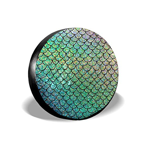 Art-Capital Spare Tire Cover Colorful Glitter Mermaid Scales Wheel Tire Covers Waterproof UV Protective Tire Protectors Universal Fit for Jeep Car Trailer RV SUV Truck Camper Van 14