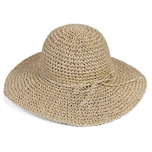Ewandastore Women Ladies Straw Sun Visor Wide Large Brim Floppy Fold Swimming Beach Bohemia Sun Hat for Holiday Travel Beach (Beige) by Ewandastore