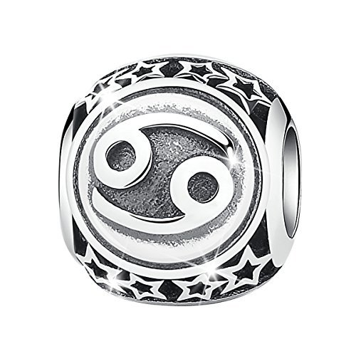 (Bamoer Sign of Zodiac Cancer 925 Sterling Silver Charms Bead For Bracelet)