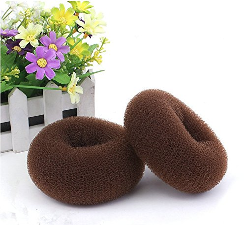 Healtheveryday®Woman Ballet Dance Hair Bun Donut Ring Shaper Hair Styler Maker Doughnut Former Sponge PACK OF 2pcs extra Large (Brown)
