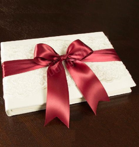Beverly Clark Keepsake Ivory Lace Guest Book Album with Satin Rouge Ribbon for Reception Sign In