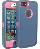 Generic Defender Body Armor Case for iPhone 5/5s - Non-Retail Packaging - Navy/Hot Pink