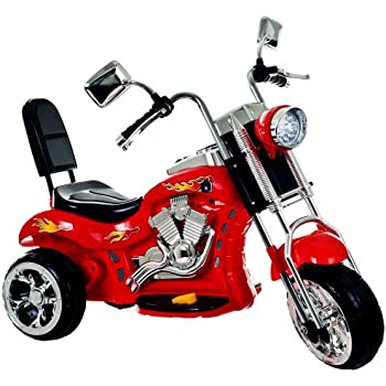 ride on toy 3 wheel trike chopper motorcycle for kids by lil rider battery powered ride on toys for boys and girls 2 4 year old red