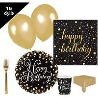 Yetişkin doğum günü,altın parti malzemesi paketi genç 16 kişilik