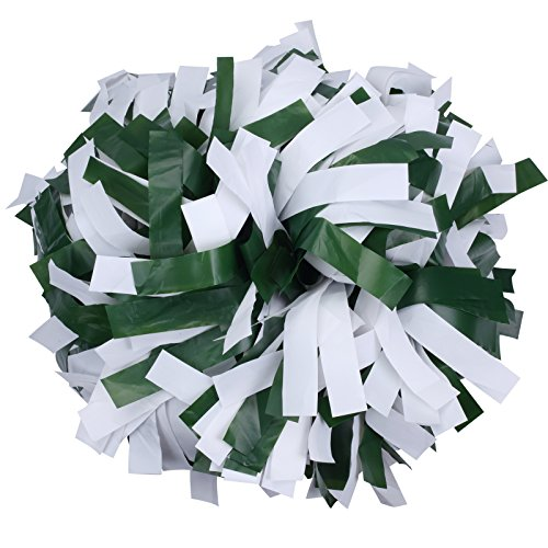 ICObuty Plastic Cheerleading Pom pom 6 inch 1 Pair(Green-White) -