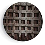7'' Medieval Pattern Ceramic Plate Medieval Wooden Castle Wall and Metal Gate Greek Style Mid Century Design Art Print