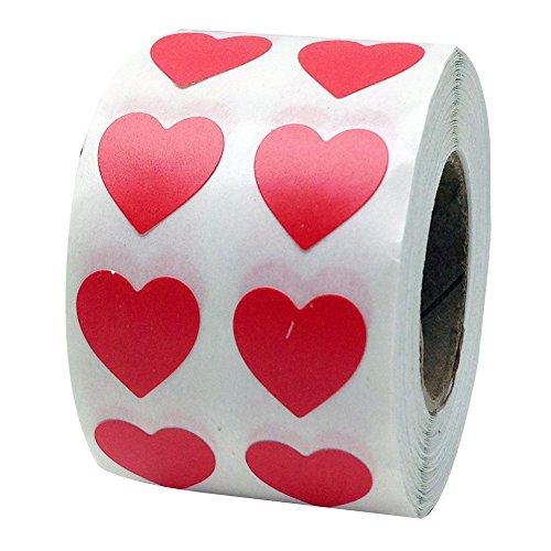 Talent_Star 1000Pcs 1 Roll Love Heart Labels Stickers Art Decal Self-Adhesive Label Decor for Homemade Gifts Red -