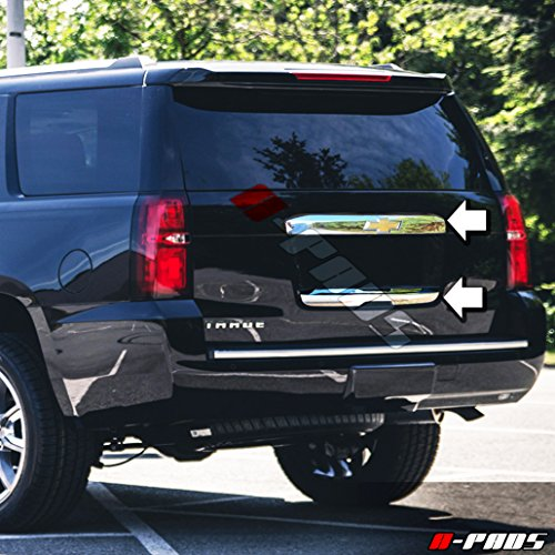 - A-PADS 2PC Rear Hatch Liftgate Handles Chrome Covers Combo for Chevy Tahoe 2015 2016-1PC Upper with Logo + 1PC Lower