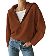 BTFBM Women's Casual Long Sleeve Half Zip Pullover Sweaters Solid V Neck Collar Ribbed Knitted Lo...
