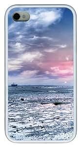 iPhone 4S Case, Seaside beach Design TPU Custom iPhone 4/4S Case Cover Whtie