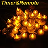 Topstone Upgraded Battery Powered Flameless Yellow Flickering Tealight Candle,with Remote Control and 4 H,6 H,8 H Timer,Pack of 18,Best for Christmas Decoration,Home and Party (Yellow)