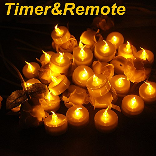Topstone Pack of 24 LED Tealight Candles Powered by Long Lasting CR2450 Battery,Realistic Amber Flickering Bulb,Fake Candles with Remote Control and 4H 6H 8H Timer for Seasonal &Festival Celebration (Tea Lights Remote Controlled Led)