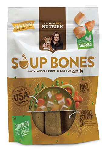 Rachael Ray Nutrish Soup Bones Dog Treats, Real Chicken and Veggies Flavor, 3 bones, 6.3 oz. Bag (Pack of 8)