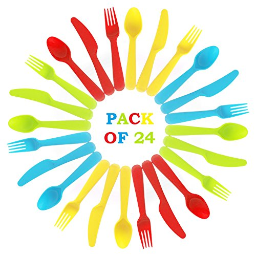 24 Piece Kids Plastic Cutlery Set - Safe BPA Free Utensils - Bright Colored Flatware for Kids and Toddlers with Easy Comfortable Grip
