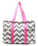 N Gil All Purpose Organizer Medium Utility Tote Bag 2 (Chevron Grey Hot Pink)