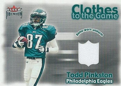 Todd Pinkston player worn jersey patch football card (Philadelphia Eagles) 2001 Fleer Premium Clothes to the Game - Warehouse Clothes Shop