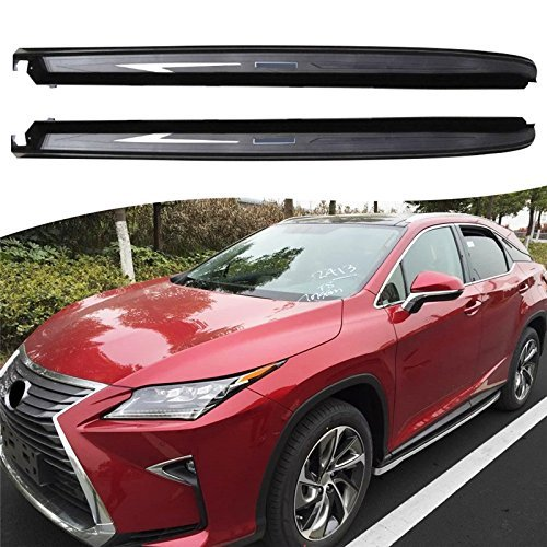 ROKIOTOEX Running Boards for 2016 2017 2018 LEXUS RX350 RX450 Side Step Bars| Step Board Risers| Step Boards Heavy-Duty Side Bars - Black with Silver Mark
