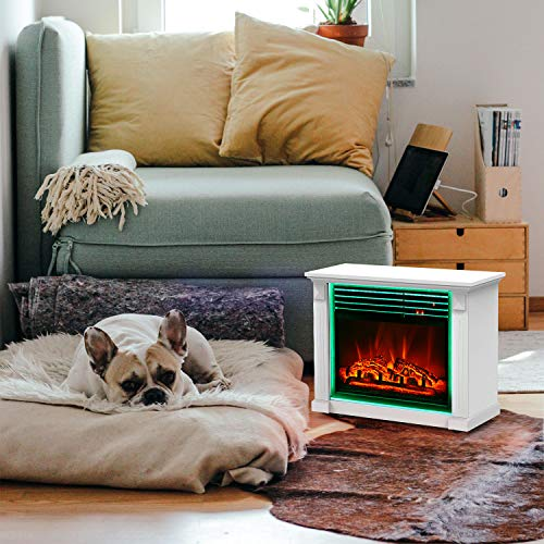 GMHome 23 Inches Electric Fireplace Freestanding Heater Moveable Electric Fireplace, 7 Changeable Backlight, Log Fuel Effect, with Remote, with Wheel, 1500 W – White
