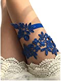 YuRong Wedding Floral Garter Set Bridal Leaf Garter Bridal Garter Set G12 (Royal blue)