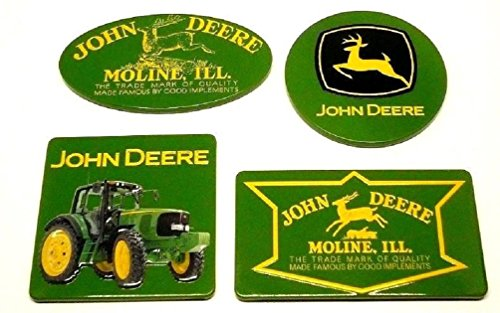 John Deere Kitchen Accessories - John Deere Set of 4 New Collectible Licensed Embossed Decorative Tin Fridge Magnets