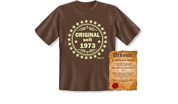 Cumpleaños Camiseta de: original desde 1973 (Color: Marrón ...