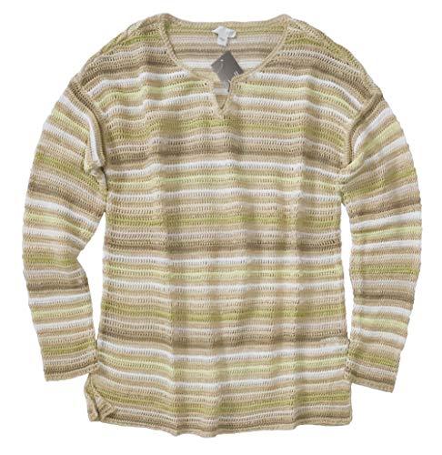 J.Jill Women's - Striped Linen Blend Loose Knit Sweater (Large) from J Jill