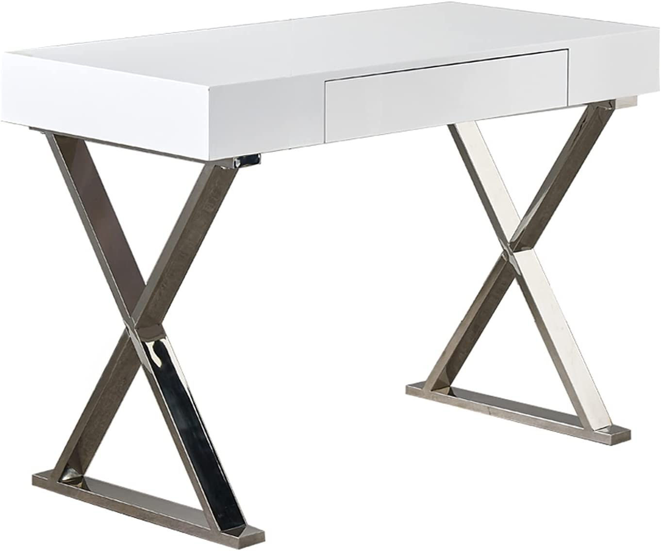 Computer Table High Gloss Laptop PC Office Desk Study Writing Desk With Hidden Drawer Steel Frame Modern Compact Workstation Table for Home Office