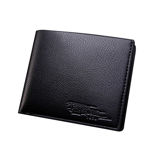 HUAhuako Bifold Short Wallet, Men Fashion Faux Leather Business Card Holder Clutch Purse Black