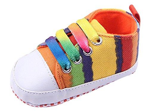 V-SOL Zapato Zapatilla Shoe a Rayas Multicolor bebé Primero Paso 2-multicolor
