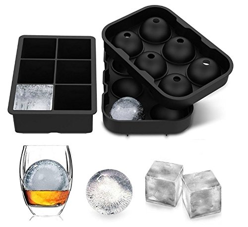 Max[DM] - Ice Mold Set - Set of 2 Ice Molds - Sphere and Cube - Each Ice Tray with 6 cavities - Silicone Ice Cube Molds for Infused Ice - Whisky - Cocktails or any other Drinks - Reusable and BPA Free
