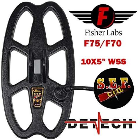 DETECH 25,4/x 12,7/cm s.e.f WSS Bobina per Fisher F75 F75/Ltd /& F70/rilevatori di Metallo con Bobina di Schermo Inclusa F75/+