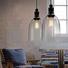 Glass Bell Shade E27 Retro Indutrial Hanging Pendant Light Fixture Transparent Glass Shade Ceiling Chandelier Fitting Edison Vintage Retro Light Shade